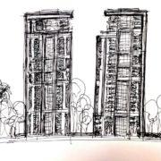 סקיצה של בנייני יוקרה