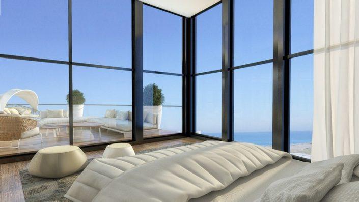 עיצוב חדר שינה עם נוף מרהיב