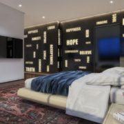 עיצוב חדר שינה מדהים של פנטהאוז מול הים